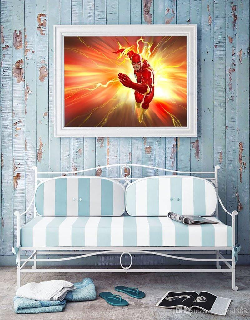 Impresión HD de pintura al óleo, superhéroe de flash, decoración de arte en la pared para sala de estar Decoración moderna para el hogar Enmarcado / sin marco