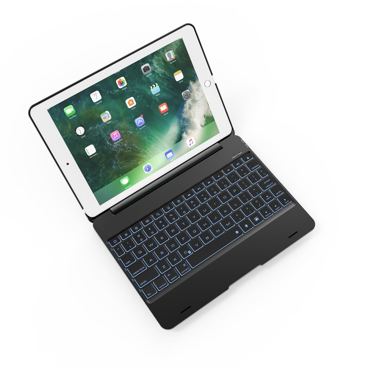 Landas 7 Colors Backlit Bluetooth Keyboard Case For New iPad 9.7 2017 A1822 A1823 Smart Case Keyboard For iPad 9.7 2017