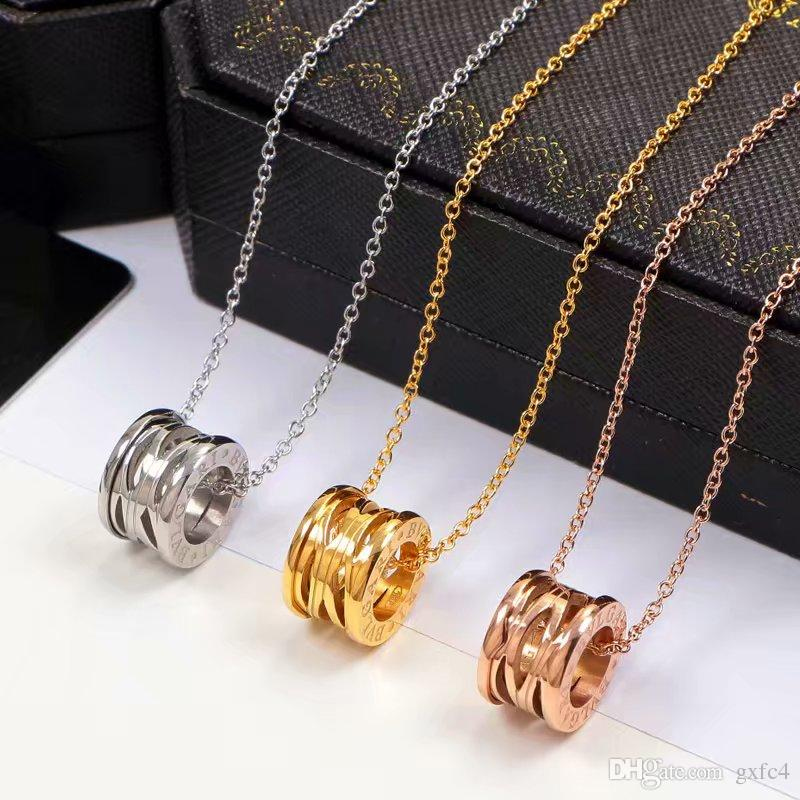 Bulgaria New Version Titanium Steel Hollow Spring Necklace Women Men Fashion Silver Gold Rose Zero1 Jewelry Never Fade