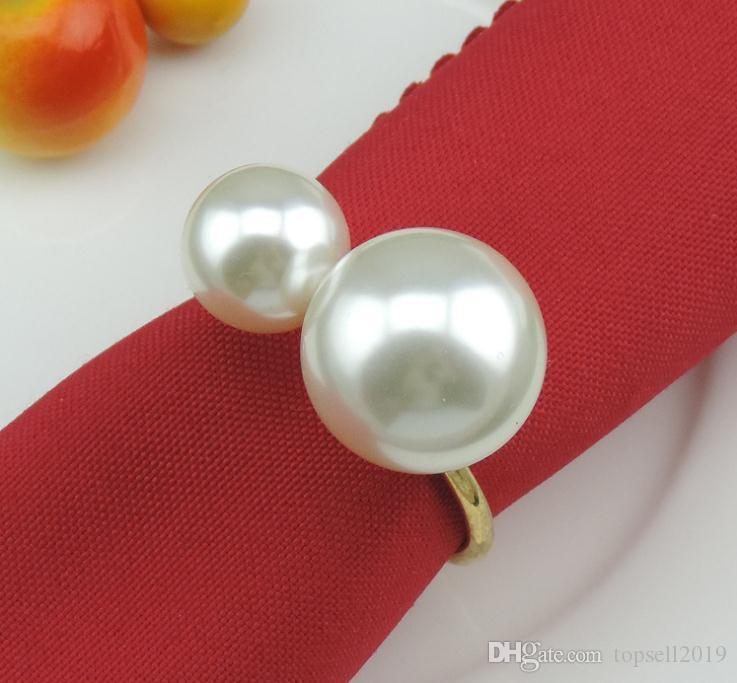 Einfache kreative dekorative Serviette Ring Handtuch Ring Metall große Perlen Serviette Schnalle Hotel Hochzeit Bankett Tischdekoration SN1592