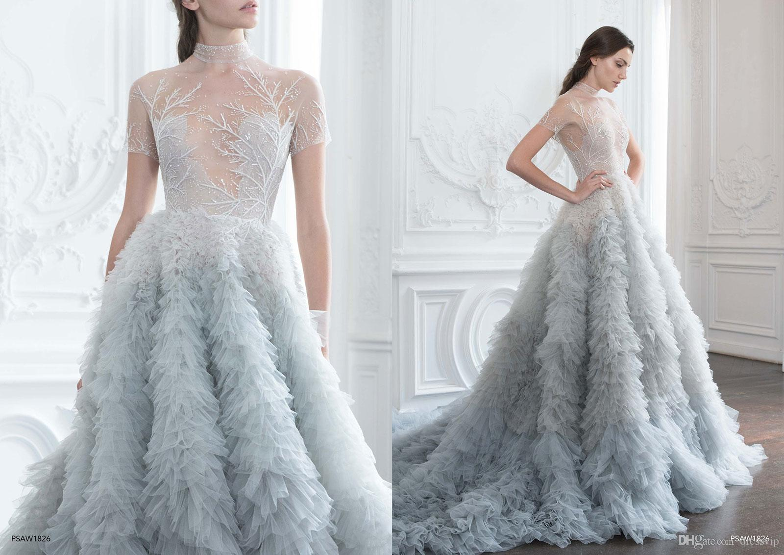 New Arrival Paolo Sebastian Prom Dresses High Neck Short Sleeves Tiered Ruffle Lace Appliques Formal Dress Party Quinceanera Dresses 2018