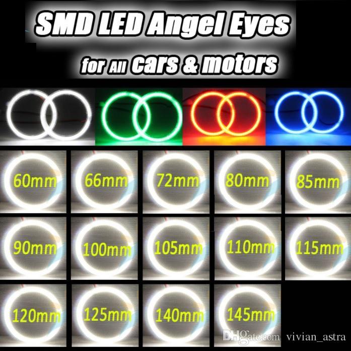 Auto Halo Ring 2835 SMD Headlight 60 65 72 80 85 90 100 105 110 115 120 125 140 145 mm Car Angel Eyes Kit Led Motor car Eyes