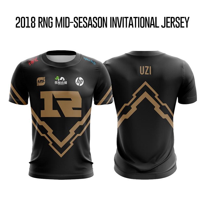 2018 시즌 중반 초청의 RNG 티셔츠 남성 우지 티셔츠 중국어 팀 로얄 결코 Giveup 팀 뉴저지 우지 티셔츠