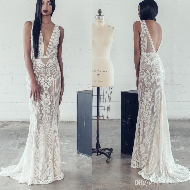 Adam Zohar 2019 Robes de mariée Siraid 2019 Sexy Deep Col Vol De Mariage Robe Dentelle Applique De Mariée De Mariée Dossier Dossier