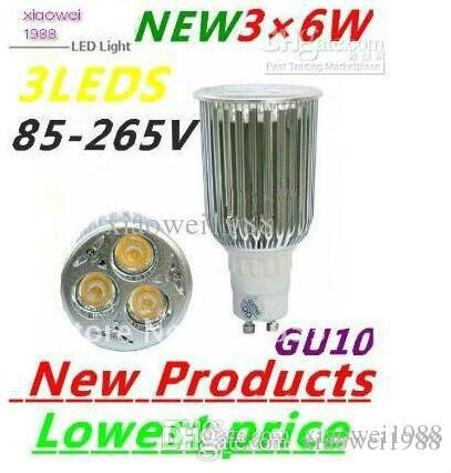 10pcs / lot 고성능 GU10 3X6W 18W LEDS 스포트라이트 85V-265V Led 램프 조명 Led 전구