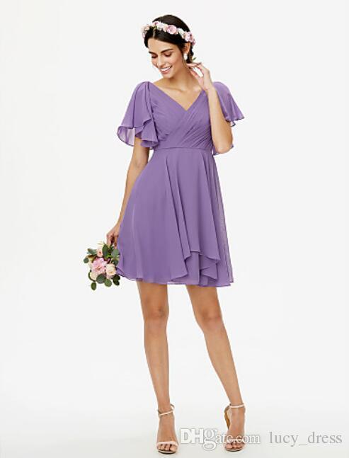 Beautiful Sexy Knee-Length Bridesmaid Dresses Chiffon Empire Short Sleeves Beach Boho V-neck Bridesmaid Gowns