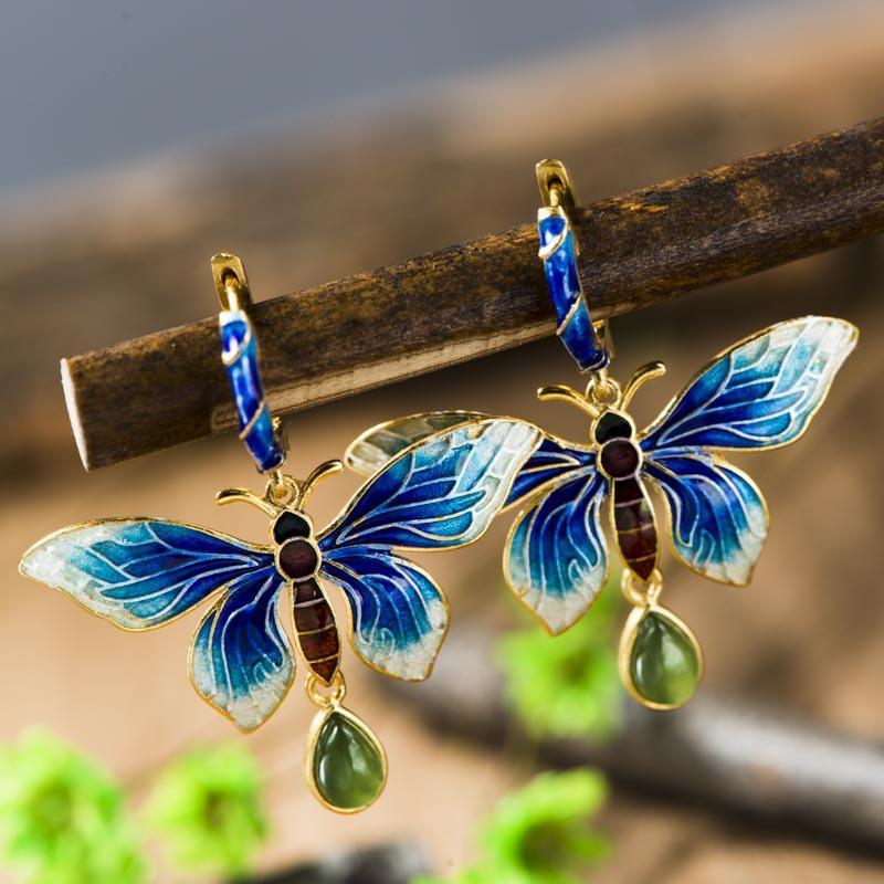 925 brincos de jóias de prata embutidos Sukhothai Shaolan borboleta brincos azul Lady Cloisonne