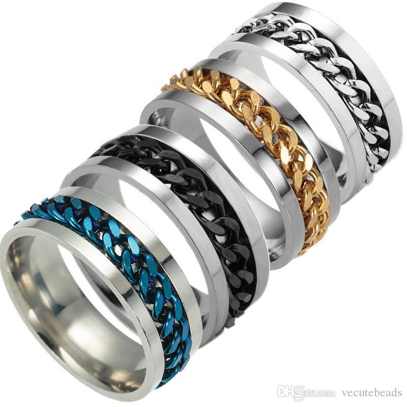 Fashion 316L Stainless Steel Center Chain Spinner Rings for Men Wedding Band Tungsten Finger ring Size6.7.8.9.10.11.12 No fade Color