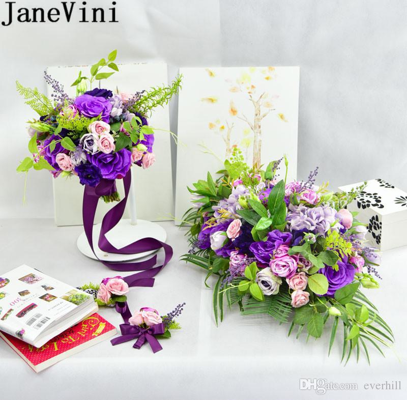 JaneVini Korsaj Bilezik Mor Düğün Çiçek Buketi İpek Kurdele Gül Buketi Tutucu Gelin Düğün Buket Boutinniere Romantik Çiçekler