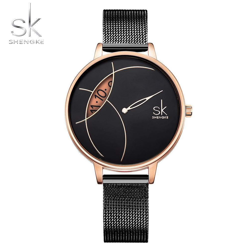 Shengke Creative Watch Women Stainless Steel Watch Super Slim Fashion Stylish Desgin Reloj Mujer Ladies Watch Relogio Feminino