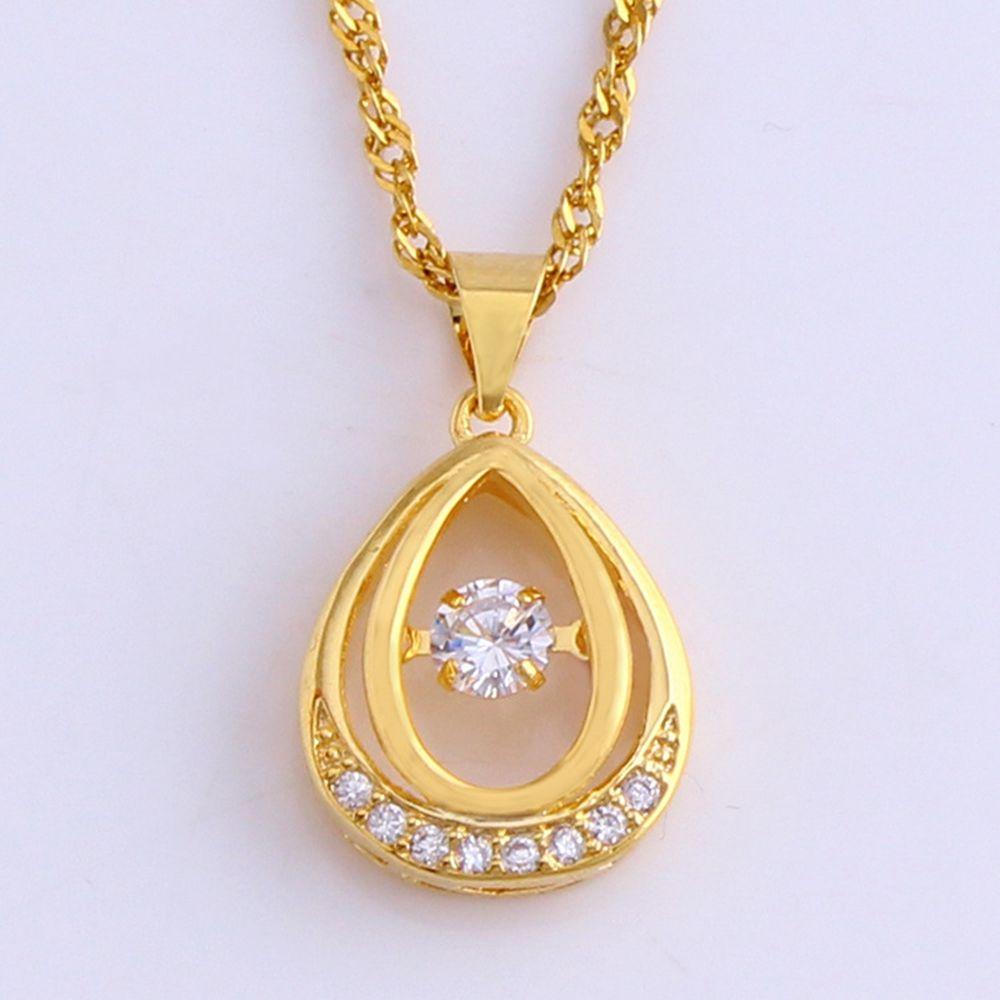 Каплевидный цирконий кулон цепь 18k желтое золото заполненные классические женские девушки ожерелье классический стиль подарок