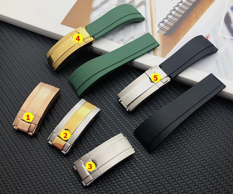 역할 스트랩 GMT OYSTERFLEX 팔찌 로고에 대한 품질 그린 블랙 20mm 실리콘 고무 손목 시계 시계 밴드