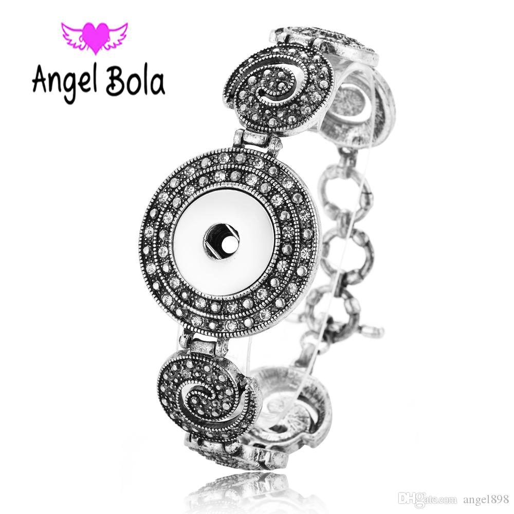 Fashion New Noosa Chunk 18mm Metal Button Bracelet DIY Ginger Snap Button Statement Jewelry Wholesale
