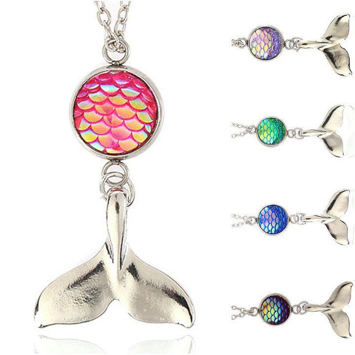 7 цветов женская Рыба/дракон масштаб Русалка Bling зеркало Серебряный драгоценный камень кулон ожерелье для Drusy Леди ювелирные изделия