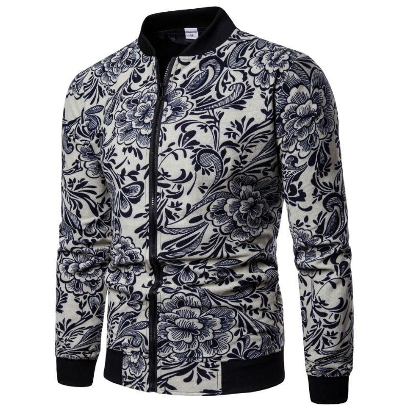 2018 Automne Mode Lin Veste Hommes Hip Hop Grandes Fleurs de Taille Pilote Blouson Veste Manteau Impression Homme Vestes EUR Taille S-2XL