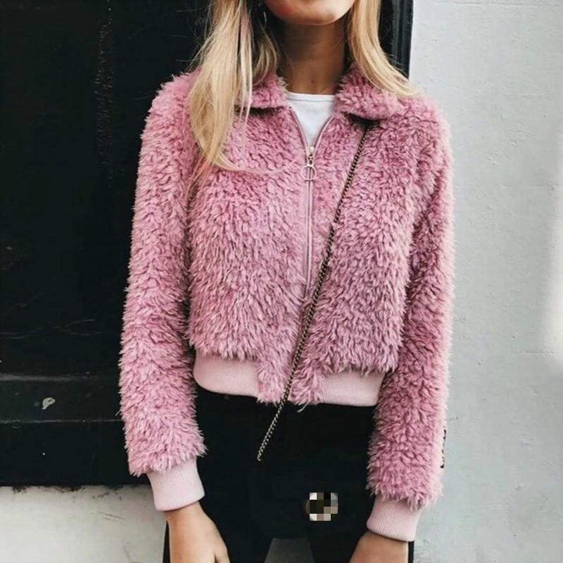 Women Pink Loose Fleece Zipper Coat Fashion 2018 Winter Thick Warm Outwear Tumblr Female Furry Jacket Kahki Plush Coat Plus Size