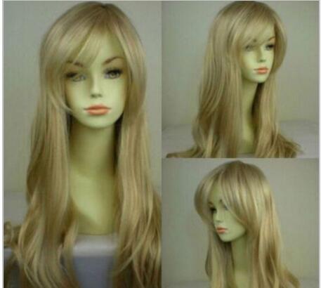 Kostenloser Versand +++ Neue Mode Blonde Mix Womens Lange Wellenförmige Perücke Anime Cosplay Party Perücken