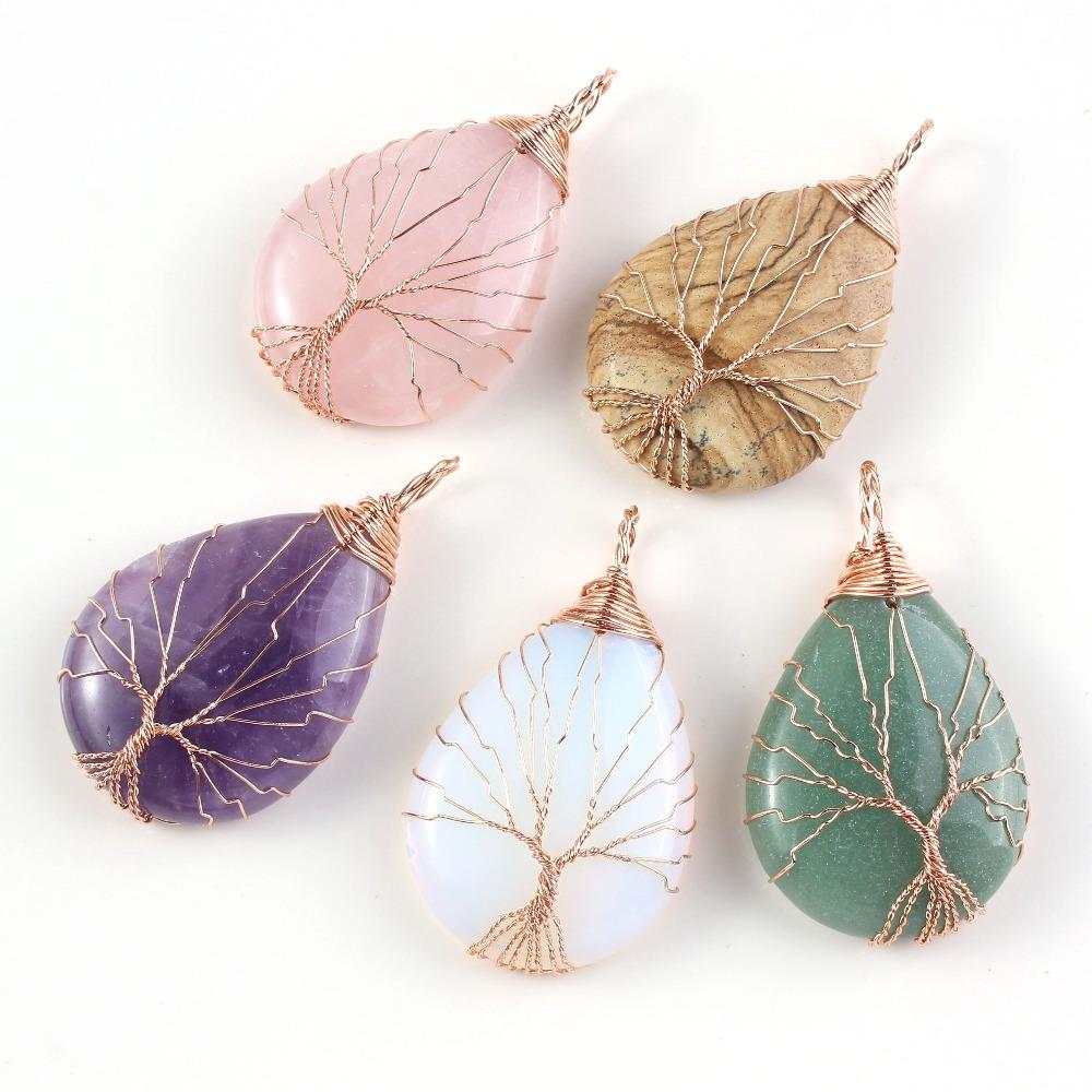 UMY Rose Gold Color Water Drop Purple Crystal Pink Quartz Tiger Eye Stone Pendant Wire Wrapped Opalite Opal Pendant