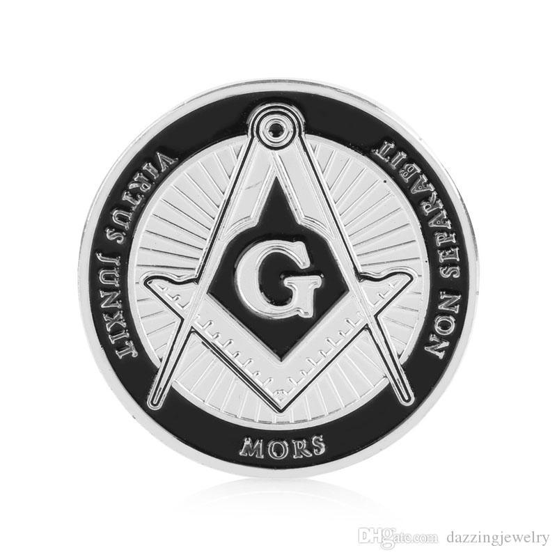 Silver masonic stamping metal coin Free masonary Emblem Brotherhood Under Fatherhood of God Commemorative Coins Freemason Token Collectible