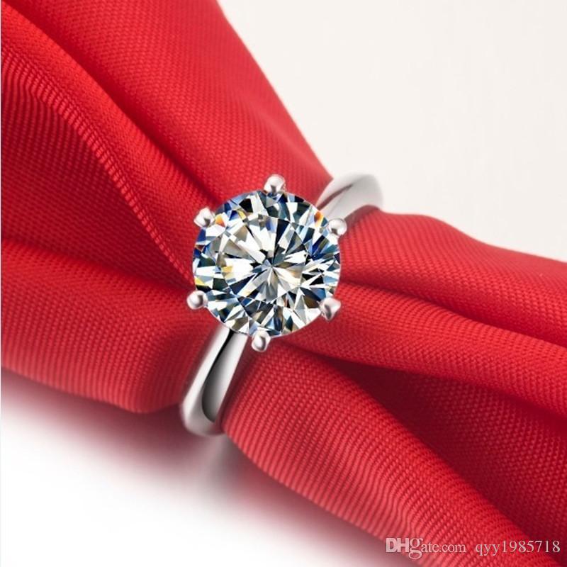 Großhandel Classic Star 3CT Verlobungsring Synthetischer Diamant Für Frauen 925 Sterling Silber Edlen Schmuck Vergoldet Ehering