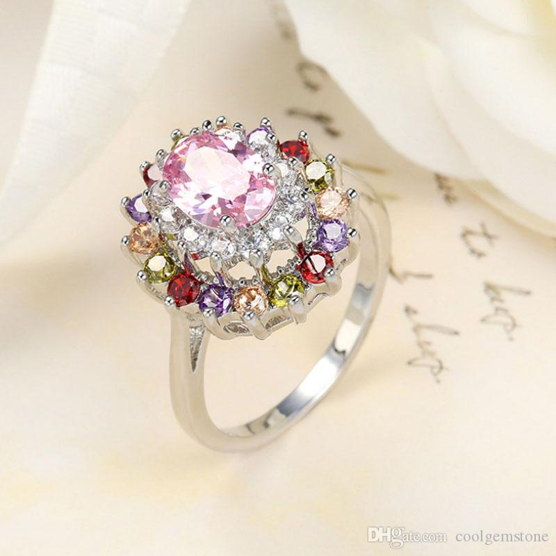 Free shipping - New Royal style 925 silver Beautiful design Natural Mystic topaz best for Lovers' Ring CR0179