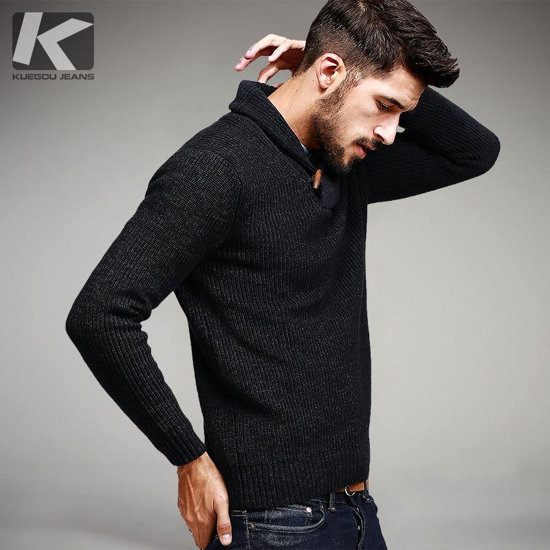 KUEGOU Sonbahar Erkek Kazak% 100% Pamuk Örme Siyah Renk Marka Giyim adamın Slim Fit Triko Erkek Giyim Kazaklar 15827