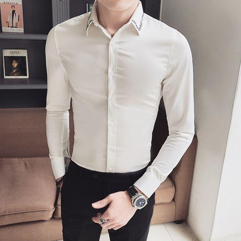 Hot Korean Simple Tuxedo Brand New Slim Fit Casual Shirt Men Long Sleeve Gentlemen Men Dress Shirts Black/White Blouses Homme