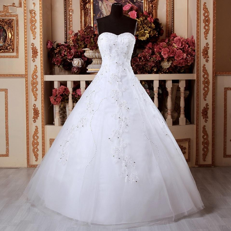 Beyaz / fildişi Bir Çizgi Gelin gelinlik Elmas Gelin dantel Elbisesi Tam Boy Elbise Aplike Örgün Durum Için Özel Boyut