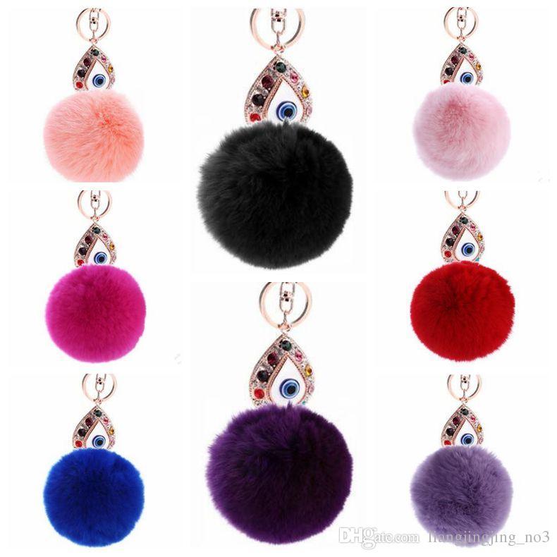 11 Colors 13cm Women Rabbit Hair Fur Ball Keychain Water Drops Eyes Girl Handbag Accessories Key Chain Pompom Bag Accessory CCA9033 50pcs