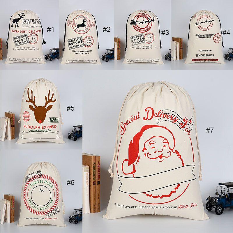 2PCS Noel Hediyesi Çanta Yılbaşı Noel Şeker Çanta büyük 70X100CM Noel Baba İpli Tuval Çuval bulaşığı Rustik Vintage Hediye Çanta