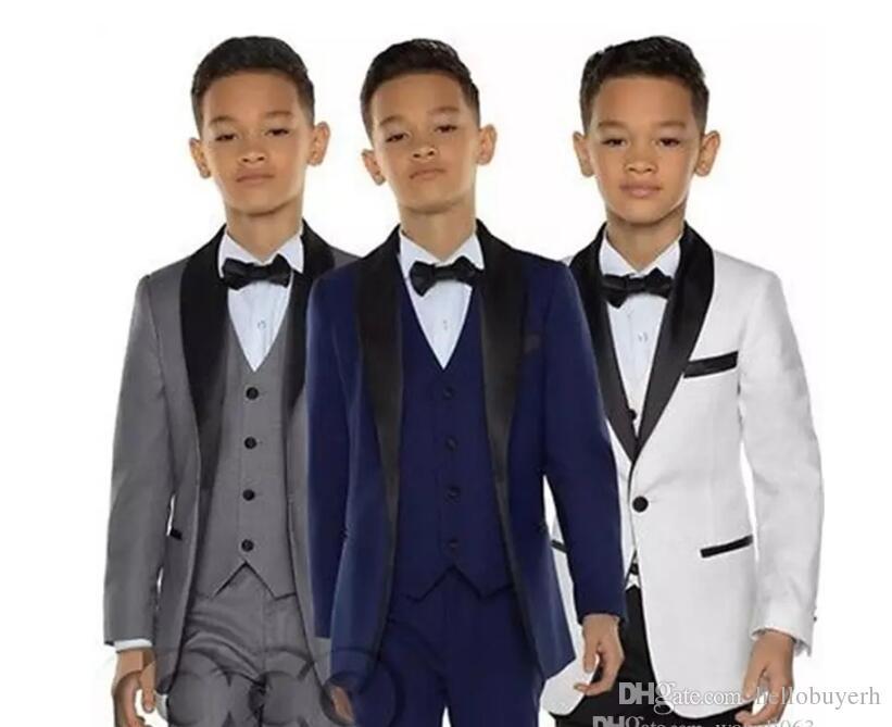 정장 착용 정장은 아이 턱시도 공식 행사에 흰색과 검은 색 정장 턱시도 2018 세 조각 소년 턱시도 저녁 식사 정장 소년