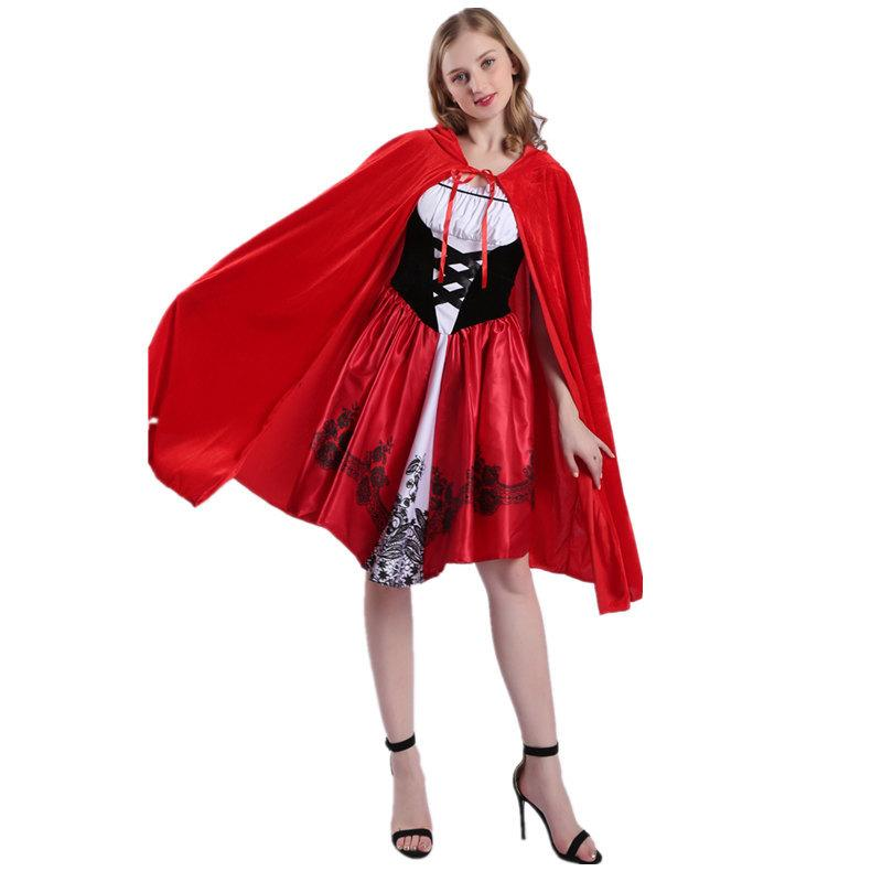 Hot!Two-piece Little Red Riding Hood Costume Little Red Riding Hood Suit Halloween Dress Set Carnival Costume