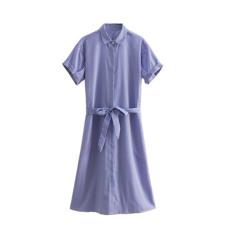 Vertical Stripes Womens Turn-down Collar Dress Waist Bow Tie Summer short-sleeve Cotton Conforte Women 2018 Causal Beach Dress