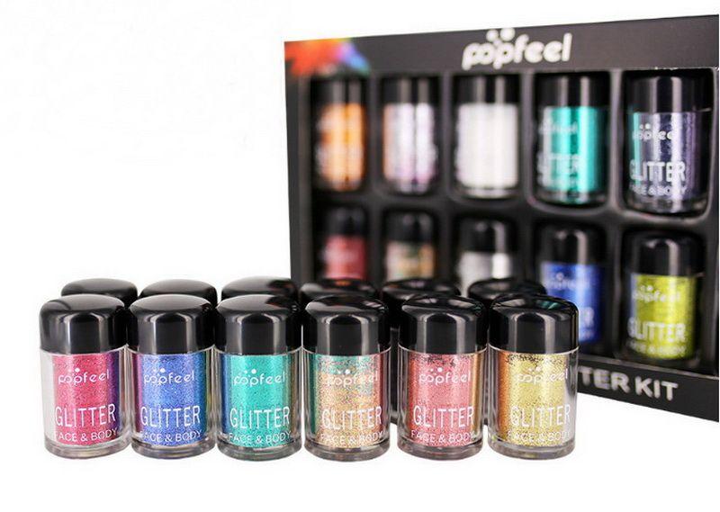 Glitter Pigment Set Loose Pigment Eyeshadow Lysande Ljusa Singel Löst Pulver Face Body Glitter Eyeshadow Kit 12st / Set