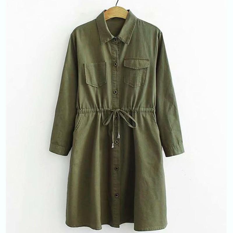 Женщины женские пальто женские длинные пальто насыпной дороги дизайн винтажного пояса платье платье ручной работы из отверстия верхняя одежда армия зеленый