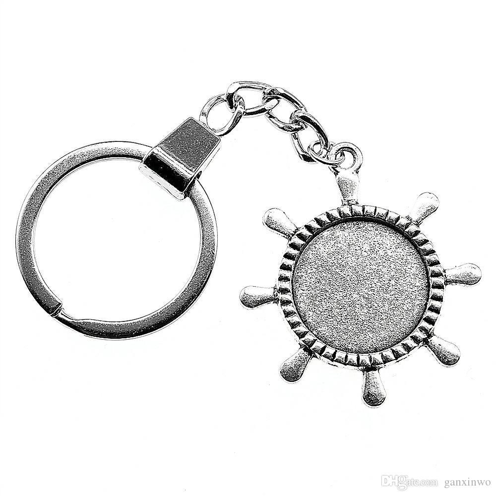 6 조각 키 체인 여성 열쇠 고리 커플 키 체인 키 러더 싱글 사이드 내부 크기 20mm 라운드 카보 숑 카메오 자료 트레이 베젤 빈