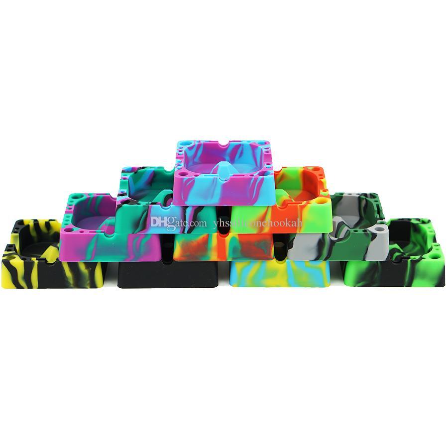 FDA apporoved new Eco-Friendly Colorful Silicone Rubber original unbreakable High Temperature Heat Resistant Square Design Ashtray wholesale