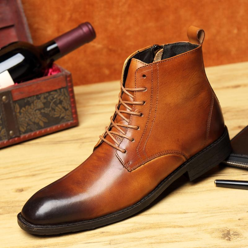 Mens Genuine Cow Leather President Dress Shoes Lace Up Formal Casual Zipper Ankle High Boots Derby Modern Pointed Toe Chelsea Business Boot Combat