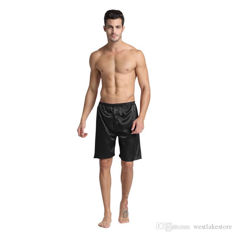Pantalones de dormir de los hombres 100% Seda Shorts de boxeador Ropa interior Sexo Pijamas Ropa de dormir del satén Pantalones cortos de seda del pijama Verano