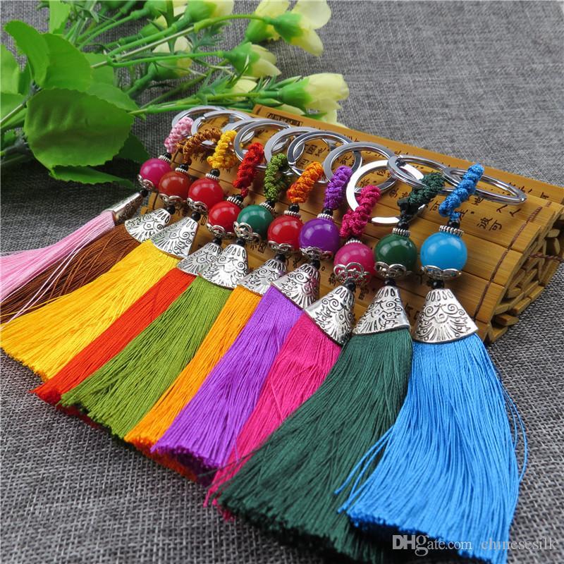 Kunsthandwerk Chinesischen Knoten Geschenk Schlüsselbund Quaste 100 stücke Schlüsselanhänger Ethnische Cluture Handwerk Tasche Anhänger Charme Mode Frauen schlüsselanhänger