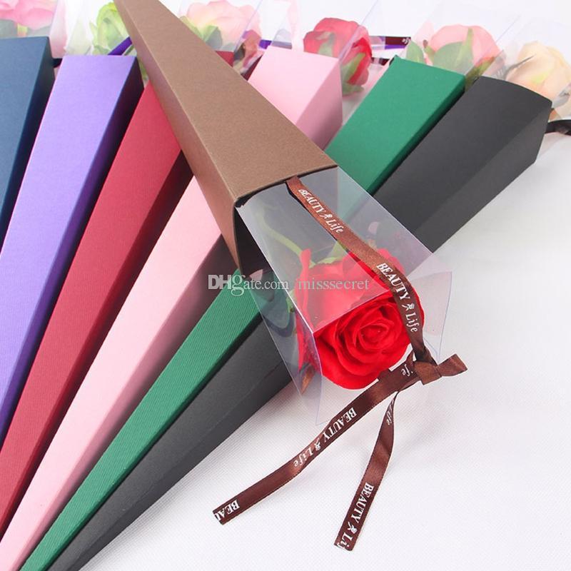 Nowa Róża Kwiat Box Piękny Elegancki Pojedynczy Kwiat Różowy Stożek Prezent Pudełko Na Walentynki Prezent Ślubny Zawijanie Dla Kochania Darmowa Wysyłka