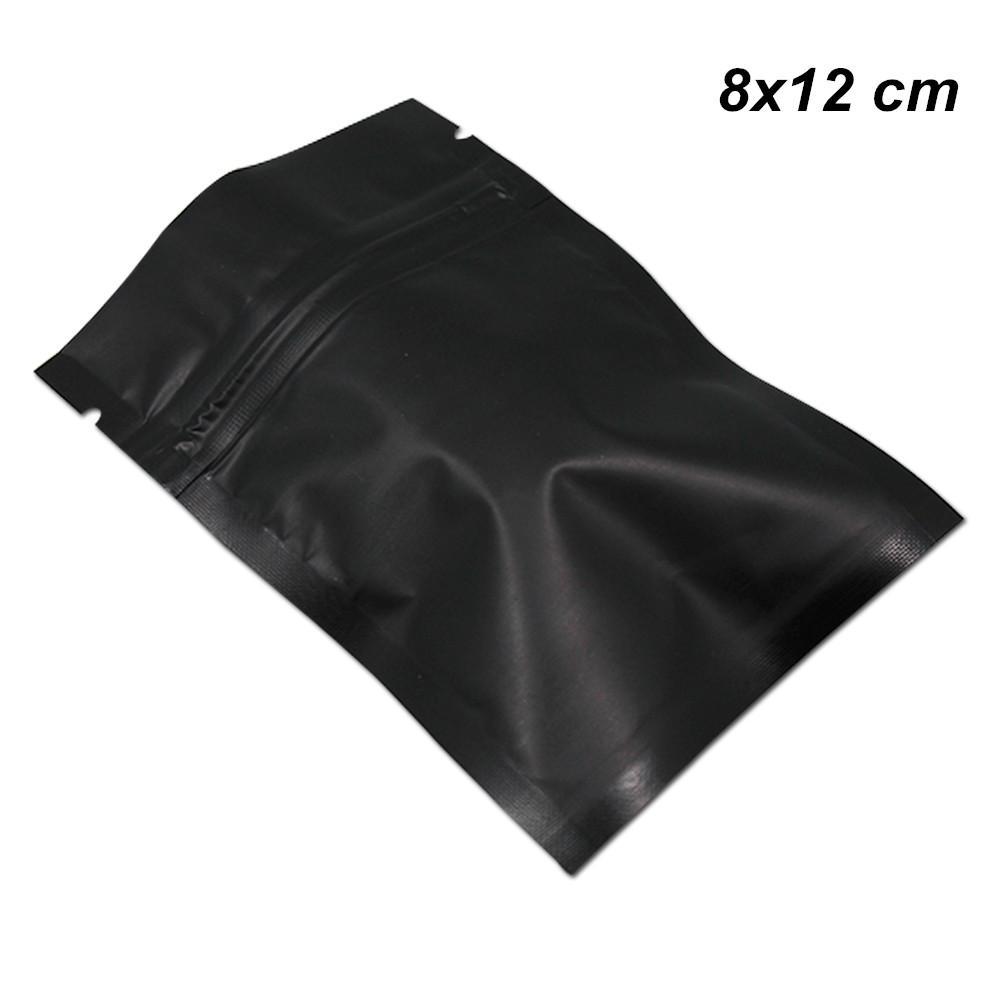 8x12 cm 200 Pacote Zipper fechamento Matte Black Mylar Foil Bag Folha de alumínio alimentar a longo prazo de armazenamento Embalagem Bag for Coffee Tea pó com Zipper