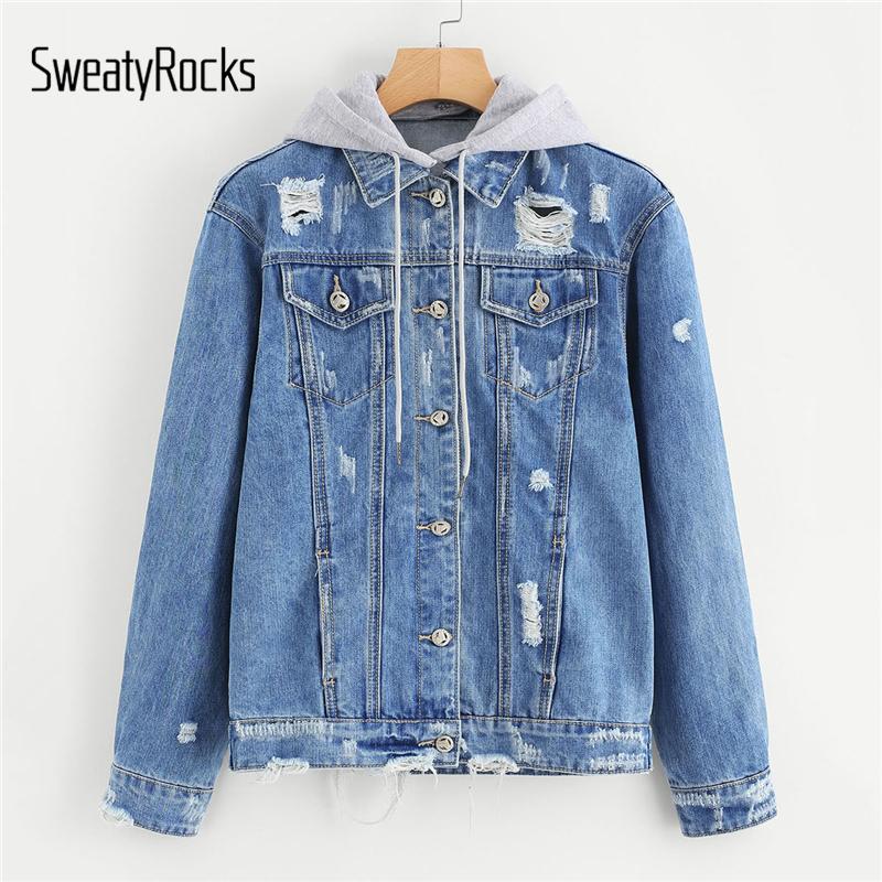 SweatyRocks Blue Autumn Cappotti e giacche Donna Strappato con cappuccio Giacca in denim con cappuccio Casual 2018 Abbigliamento donna Jeans Capispalla
