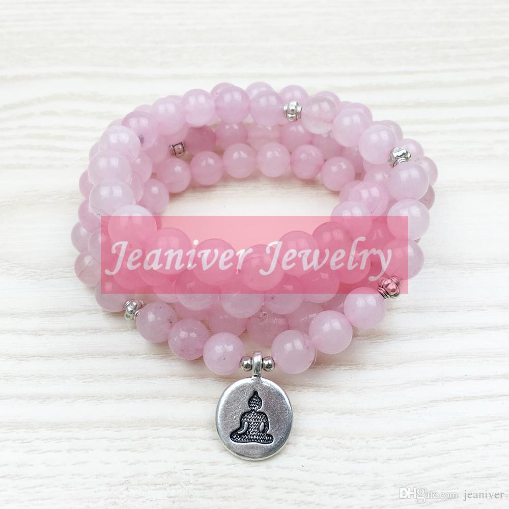 2018 Top Vente Amour 108 Rose Quartz Mala Perles Bracelet Femmes Bijoux de Yoga Bouddhiste Collier Coeur Chakra Lotus Charmes Bracelet NS1028