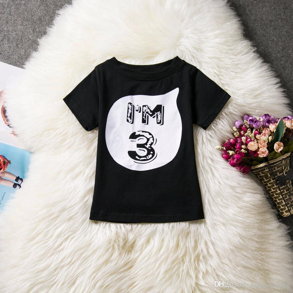 Marca de verão Bebê Crianças Meninas T-shirt Tops Roupas Branco Preto de Manga Curta Tee Camisas de Aniversário 1 2 3 4 Ano Crianças Roupas