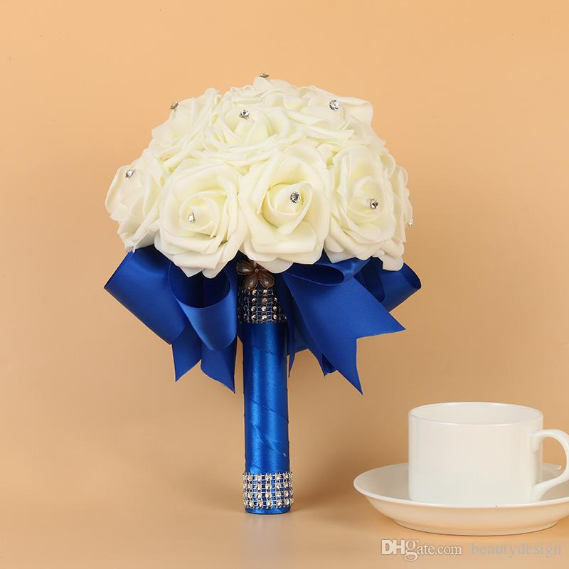 2019 Yeni Ucuz Nedime Düğün köpük çiçekler Gül Gelin buketi Şerit Sahte Düğün buket de noiva Buket De Mariage CPA1564