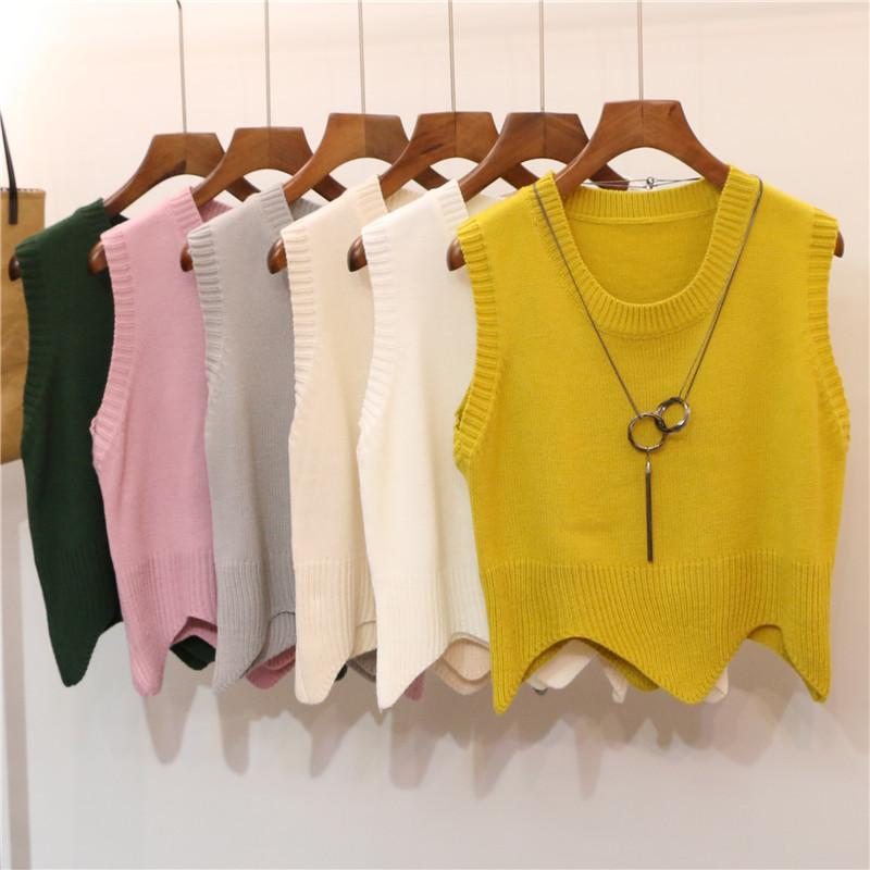 Women Sleeveless Knitting Sweater Bottoming Shirt Pullover Top Winter Female Casual Elastic Short Solid Knitted Sweater Vest