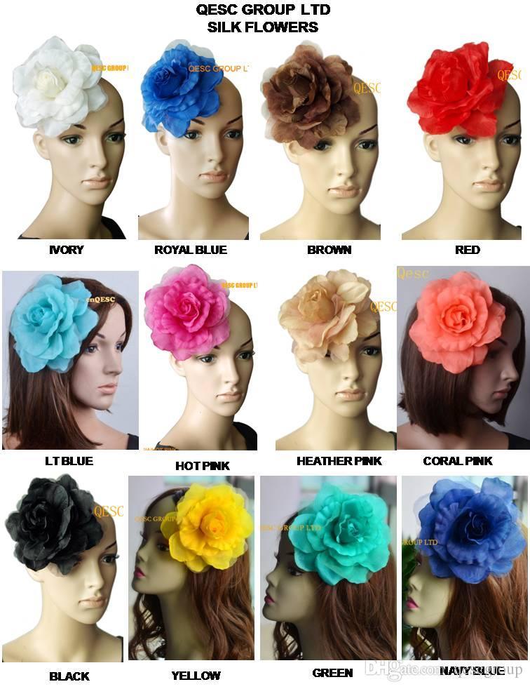 15 cm flor de seda suave para sinamay fascinator, sinamay sombreros y accesorios para el cabello, 12 colores, 16pcs / lot