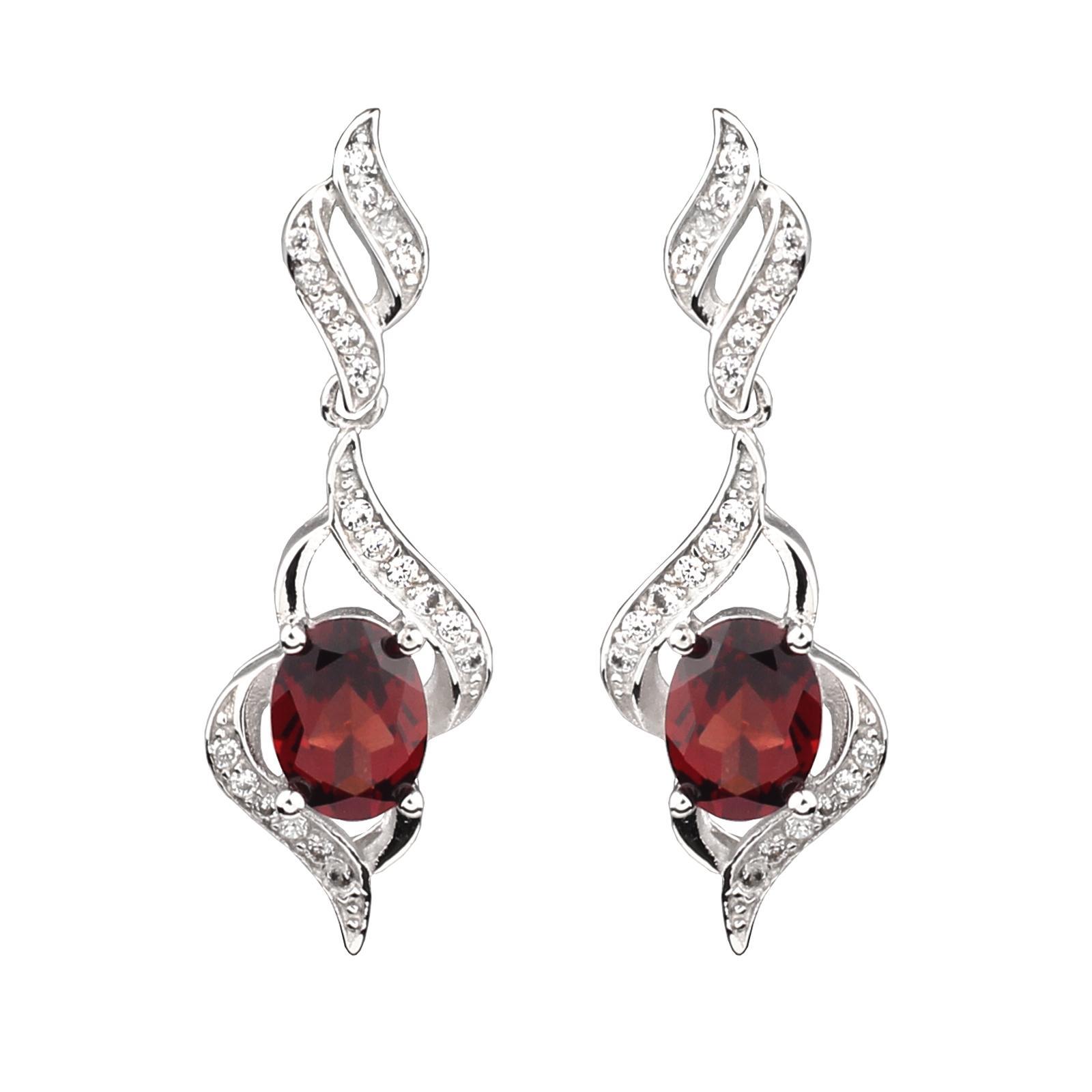 Real Red Granato Orecchini pendenti in argento 925 Gioielli da donna 6x8mm cristallo ovale gennaio Birthstone Piercing Drop Design E085RGN
