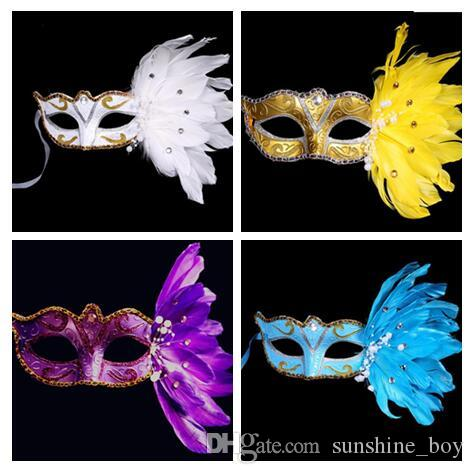 Gold Powder Crystal Pearl Lace Feather Half Face Painted Mask